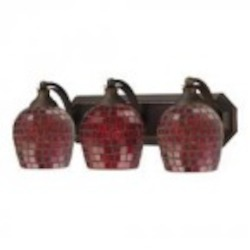 ELK Lighting Three Light Aged Bronze Copper Mosaic Glass Vanity - 570-3B-CPR