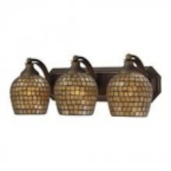 ELK Lighting Three Light Aged Bronze Gold Mosaic Glass Vanity - 570-3B-GLD