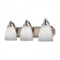 ELK Lighting Three Light Satin Nickel Simply White Glass Vanity - 570-3N-WH
