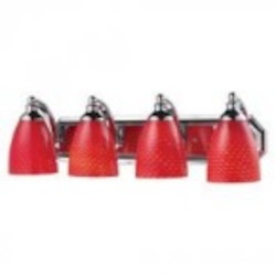 ELK Lighting Four Light Polished Chrome Scarlet Red Glass Vanity - 570-4C-SC