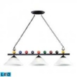 ELK Lighting Three Light Matte Black Pool Table Light - 66204-3-LED
