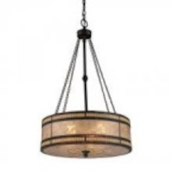 ELK Lighting Three Light Tiffany Bronze Drum Shade Pendant - 70067-3