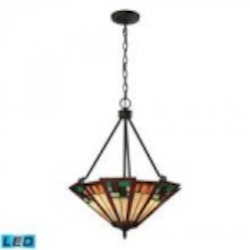 ELK Lighting Three Light Tiffany Bronze Up Pendant - 70117-3-LED