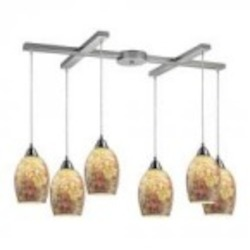 ELK Lighting Six Light Satin Nickel Multi Light Pendant - 73021-6
