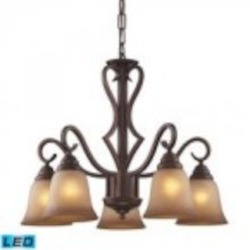 ELK Lighting Five Light Mocha Antique Amber Glass Down Chandelier - 9327/5-LED