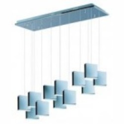 Polished Chrome / White 12 Light LED 37.5in. Wide Pendant from the Brick Collection