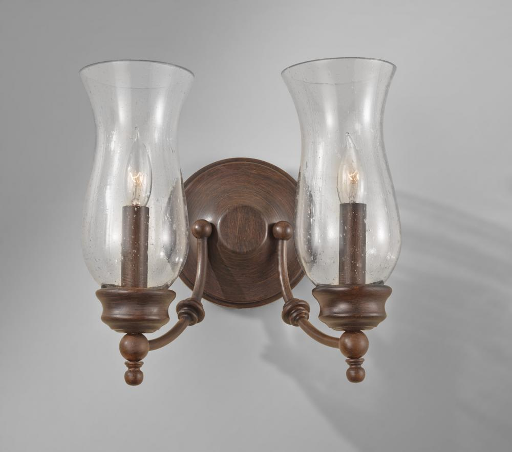 Wall Sconces With Seeded Glass : Feiss Two Light Heritage Bronze Clear Seeded Glass Wall Light - WB1598HTBZ