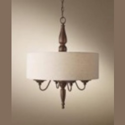 Feiss Four Light Prescott Bronze Drum Shade Chandelier - F2786/4PRBZ