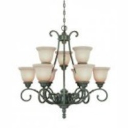 Jeremiah Nine Light English Toffee Faux Alabaster Shade Up Chandelier - 22429-ET