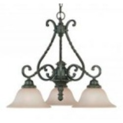 Jeremiah Three Light English Toffee Faux Alabaster Shade Down Chandelier - 22433-ET