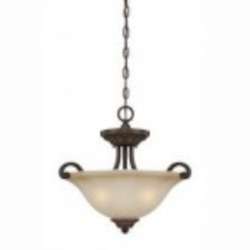Jeremiah Three Light Aged Bronze W/gold Light Teastain Glass Up Pendant - 28253-ABZG