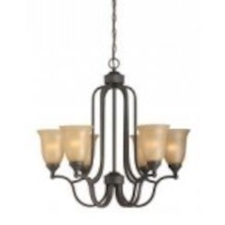 Jeremiah Six Light Oil Rubbed Bronze Tea Stained Glass Up Chandelier - 28726-ORB