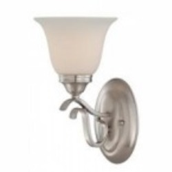 Jeremiah One Light Brushed Nickel Frost White Glass Bathroom Sconce - 29001-BNK