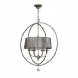Jeremiah Six Light Athenian Obol Mica Glass Drum Shade Chandelier - 35536-AO