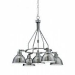 Jeremiah Five Light Antique Nickel Hammered Metal Shade Down Chandelier - 35925-AN