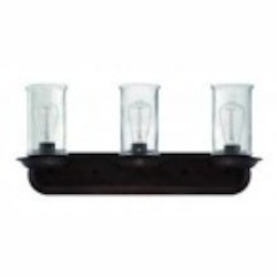 Jeremiah Three Light Aged Bronze Frosted White Glass Vanity - 36103-ABZ