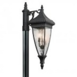 Kichler Three Light Black W/gold Post Light - 49133BKG