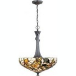 Lite Source Inc. CEILING LAMP - BRONZE VERDE/TIFFANY SHADE, TYPE A 60Wx2 - C7385