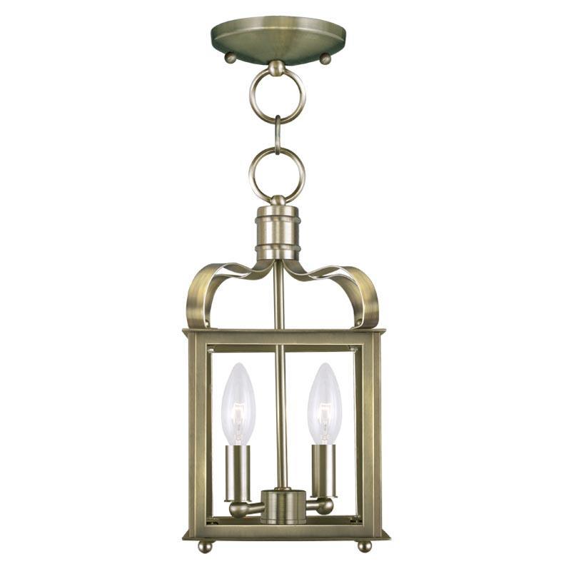 Antique Foyer Lighting Fixtures : Livex lighting two light antique brass framed glass foyer