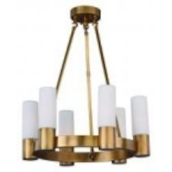 Maxim Six Light Natural Aged Brass Up Chandelier - 22416SWNAB