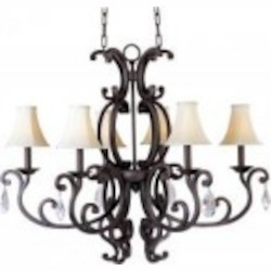 Maxim Six Light Colonial Umber Up Mini Chandelier - 31009CU