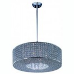 Maxim Ten Light Plated Silver Beveled Crystal Glass Drum Shade Pendant - 39896BCPS