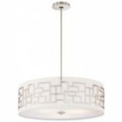 Brushed Nickel 4 Light Drum Pendant from the Aleciaft.s Necklace Collection