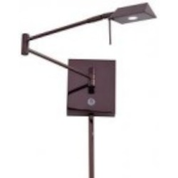 Chocolate Chrome 1 Light 6.25In. Height Led Plug In Wall Sconce In Chocolate Chrome With Pyramid Shade From The George'S Reading Room Collection