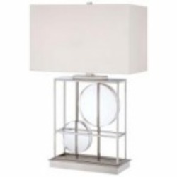 Polished Nickel 2 Light 28in. Height Table Lamp from the Decorative Portables Collection