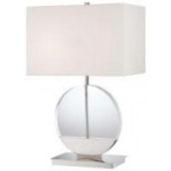 Polished Nickel 2 Light 26.5in. Height Table Lamp from the Decorative Portables Collection