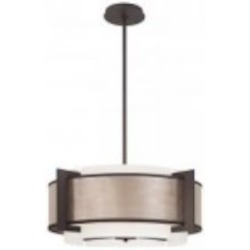 Minka George Kovacs Four Light Brushed Nickel Etched Opal Glass Drum Shade Pendant - P924-684