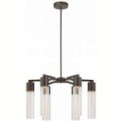 Minka George Kovacs Six Light Sable Bronze Patina Clear Seeded Glass Down Chandelier - P975-647