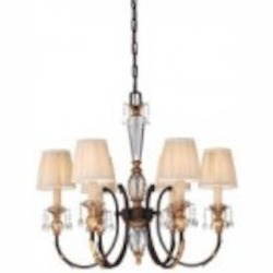 Minka Metropolitan Six Light French Bronze With Gold Leaf Highlights Pleated Champagne Shade Up Chandelier - N6646-258B