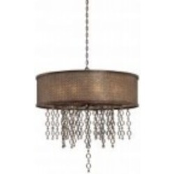 Minka Metropolitan Ten Light French Bronze Jeweled Accents Glass Drum Shade Pendant - N6729-258