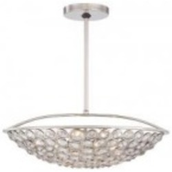 Minka Metropolitan Five Light Polished Nickel Clear Crystal Accents Glass Up Pendant - N6757-613