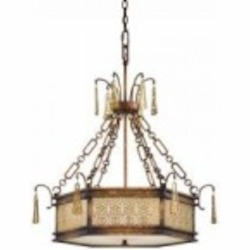 Minka Metropolitan Five Light Frosted Glass Vineyard Patina Drum Shade Pendant - N6768-257