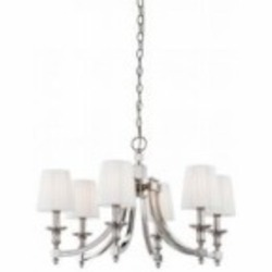 Minka Metropolitan Six Light Polished Nickel White Pleated Shade Up Chandelier - N6802-613