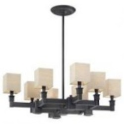 Minka Metropolitan Black Bronze Dusty Bronze Fabric Shades (incl.) Shade Up Chandelier - N6820-591