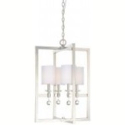 Minka Metropolitan Polished Nickel Eidolon Krystal Accents/white Linen Shades (incl.) Shade Up Pendant - N6841-613