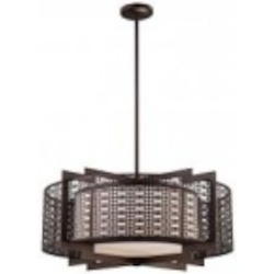 Minka Metropolitan Four Light Etched White Glass Cimarron Bronze Drum Shade Pendant - N6972-267B