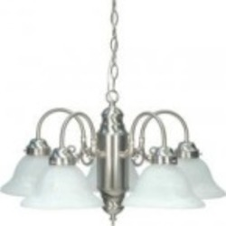 Nuvo 5 Light Chandelier w/ Alabaster Glass - 60/1290