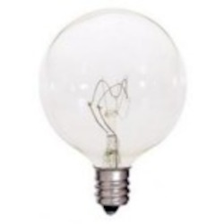 Satco Products Inc. 25 watt; G16 1/2; Clear; 2500 average rated hours; 212 lumens; Candelabra base; 120 volts - S4471
