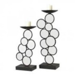 Sterling Industries Set Of 2 Iron And Mirror Candle Holders - 129-1057
