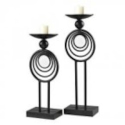 Sterling Industries Set Of 2 Iron And Mirror Candle Holders - 129-1058