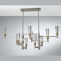 Feiss Ten Light Brushed Nickel/natural Brass Clear Crystal Glass Pool Table Light - F2817/10BN/NB