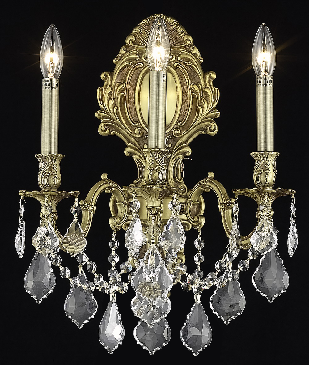 Elegant Crystal Wall Sconces : Elegant Lighting Elegant Cut Clear Crystal Monarch 3-Light Crystal Wall Sconce French Gold ...