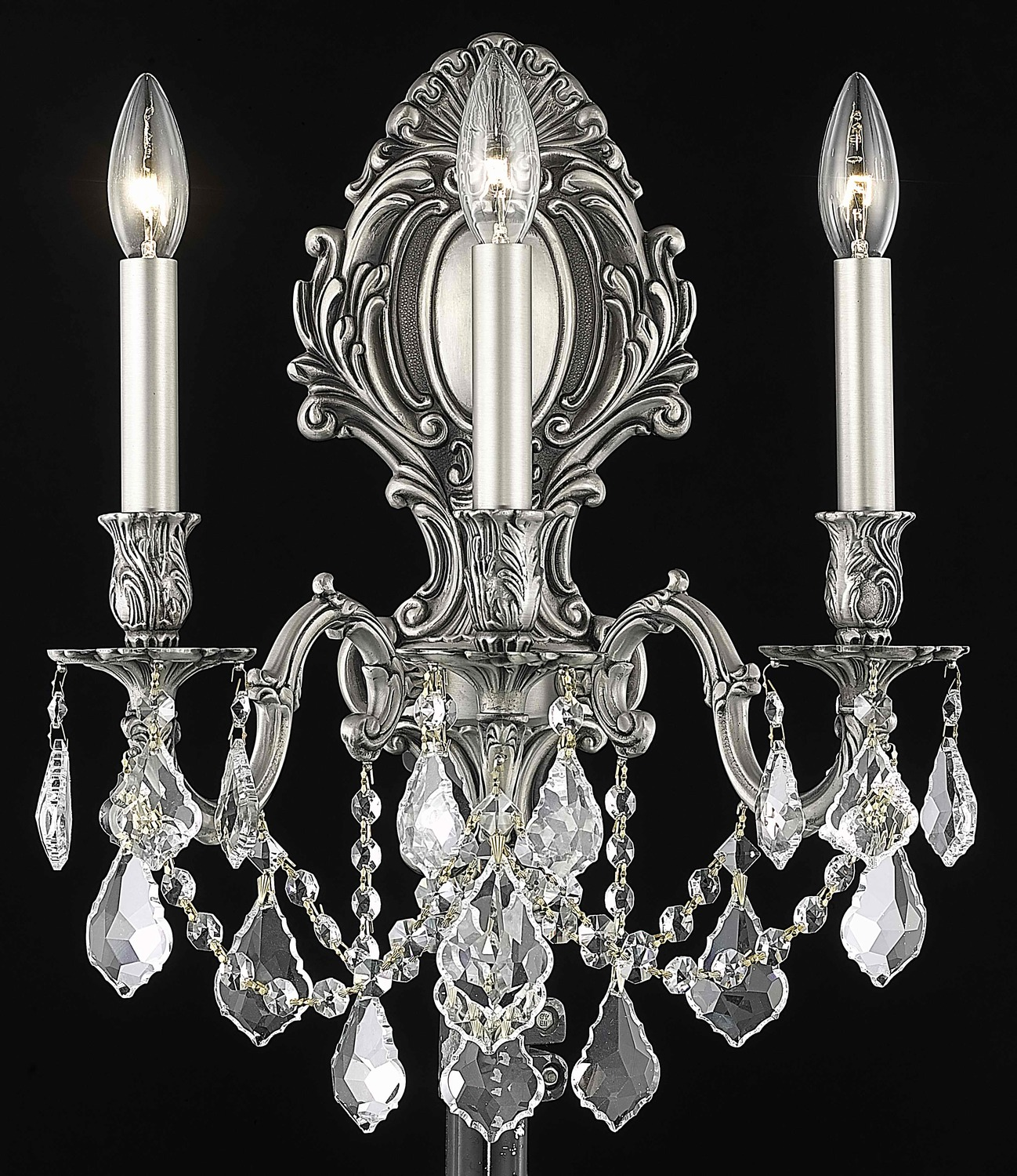 Clear Crystal Wall Sconces : Elegant Lighting Elegant Cut Clear Crystal Monarch 3-Light Crystal Wall Sconce Pewter 9603W14PW ...