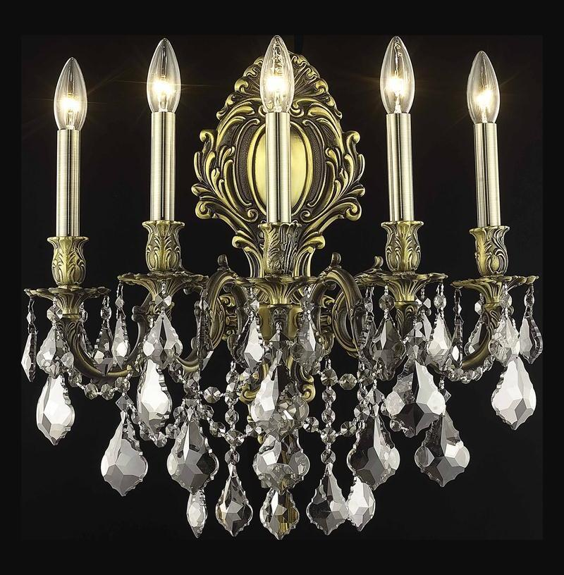 Elegant Crystal Wall Sconces : Elegant Swarovski Elements Grey Silver Shade Crystal Monarch 5-Light Crystal Wall Sconce Antique ...