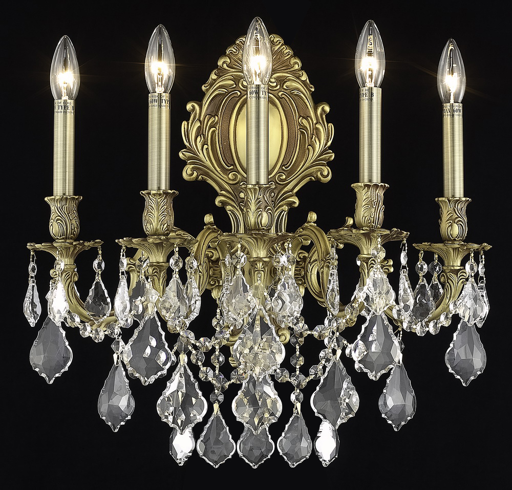 Clear Crystal Wall Sconces : Elegant Lighting Elegant Cut Clear Crystal Monarch 5-Light Crystal Wall Sconce French Gold ...