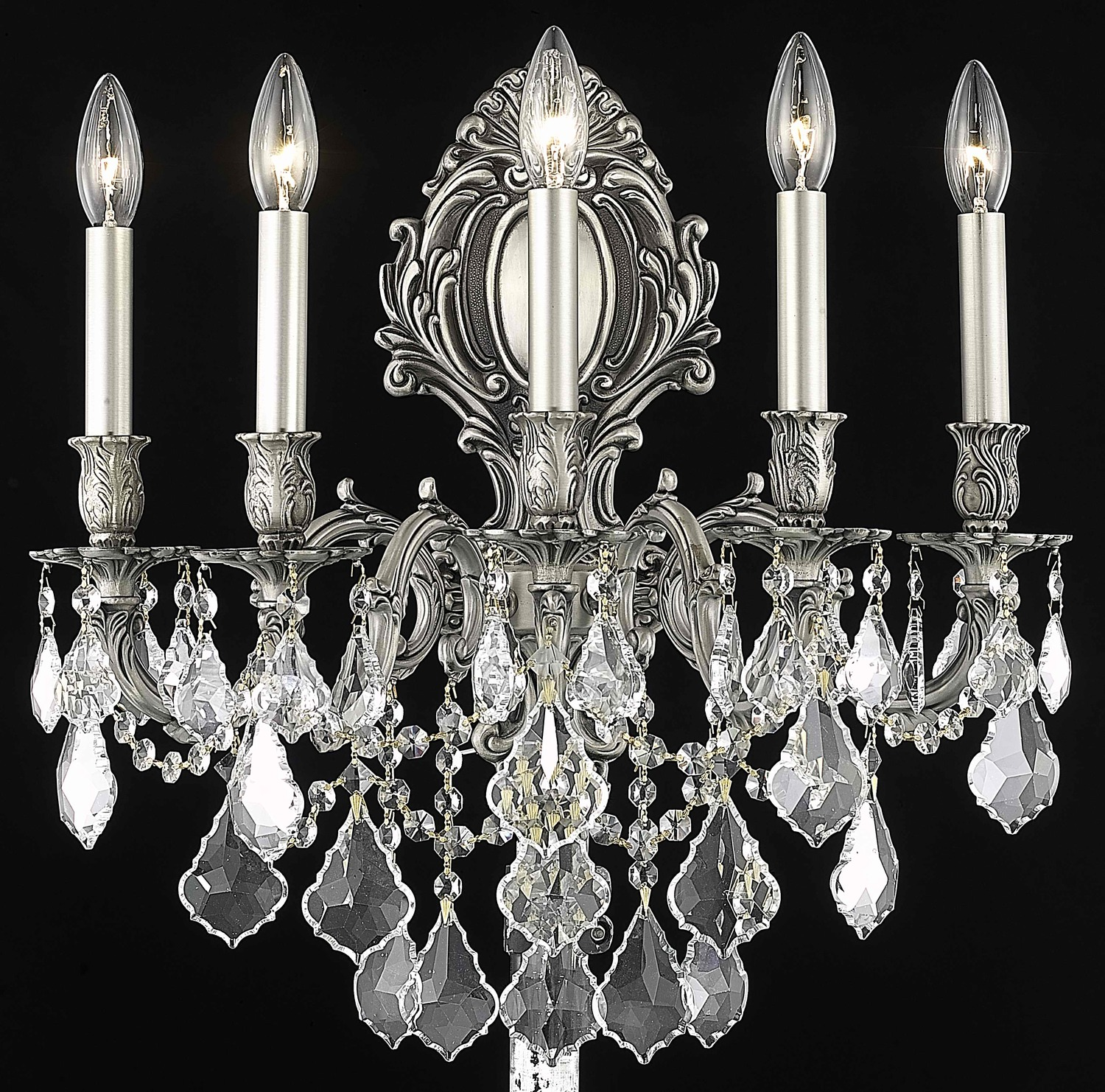 Clear Crystal Wall Sconces : Elegant Lighting Elegant Cut Clear Crystal Monarch 5-Light Crystal Wall Sconce Pewter 9605W21PW ...
